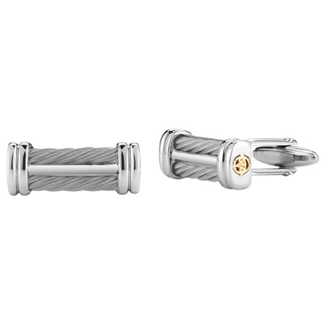 Alor - Grey Cable Signature Cufflinks with 18kt Yellow Gold by ALOR
